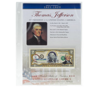 US Presidents Colorized $2 Bill Series Auto Delivery Jefferson - C27840