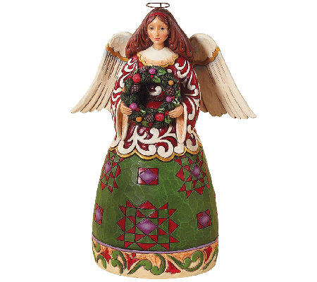 Jim Shore Heartwood Creek Christmas Angel wit hWreath