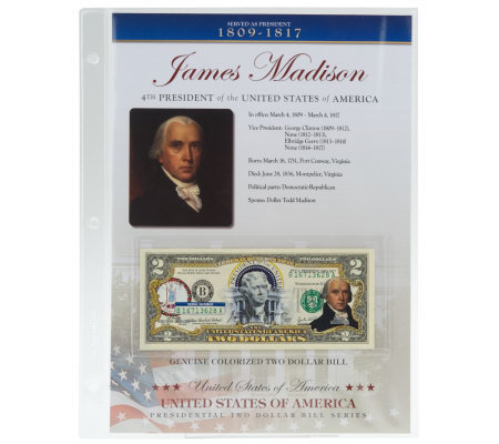 US Presidents Colorized $2 Bill Series Auto Delivery Madison