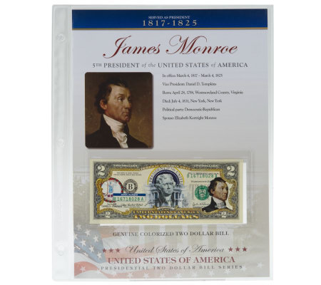 US Presidents Colorized $2 Bill Series Monroe