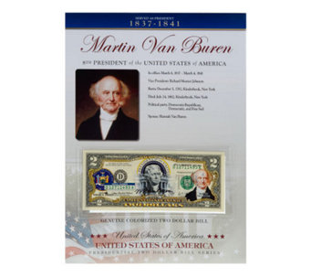US Presidents Colorized $2 Bill Series Van Buren - C27845