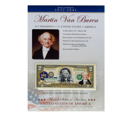 US Presidents Colorized $2 Bill Series Van Buren