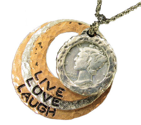 "Silver Mercury Dime Circle Pendant Live/Love/Laugh 24"" Chain"