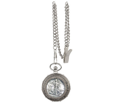 Silver Walking Liberty Half Dollar Coin Train Pocket Watch