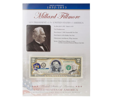 US Presidents Colorized_$2 Bill Series Fillmore