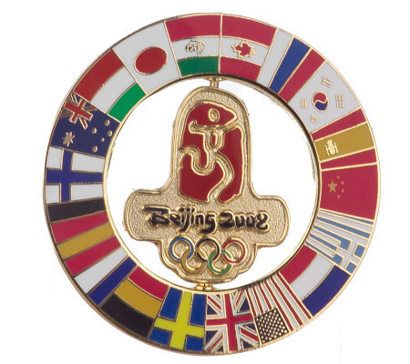 Beijing 2008 Flags of the Summer Games Spinning Pin by Aminco