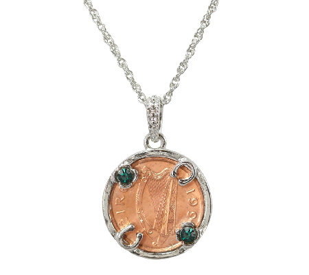 Lucky Irish Penny Silvertone Circle Pendant