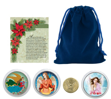 Christmas Angel Coins with Blue Pouch