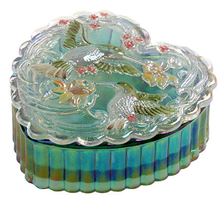 Fenton Art Glass Hummingbird Heart Trinket Box