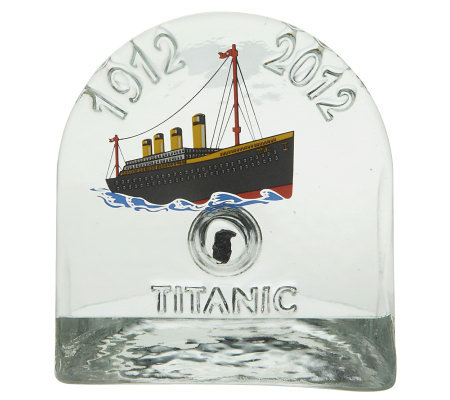 Titanic Handmade Glass Paper Weight with Authentic Titanic Coal