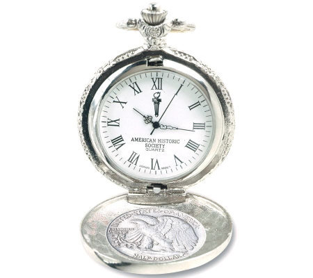 Silver Walking Liberty Half-Dollar Pocket Watch