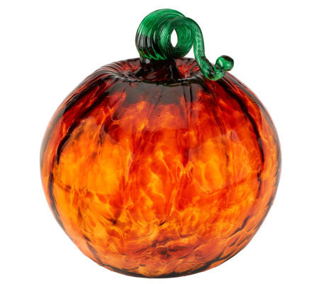 Kitras Art Glass 10-inch Handcrafted Pumpkin