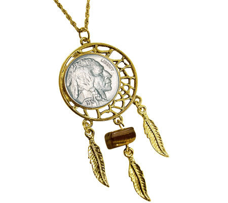 "Buffalo Nickel Dream Catcher Pendant w/ Tiger's-Eye & 24""Chain"