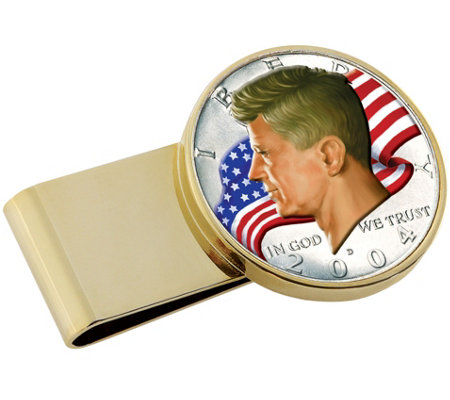 JFK Half Dollar Flag Gold Tone Stainless SteelMoney Clip