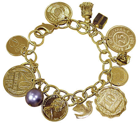 Goldtone-Layered Foreign Coins Charm Bracelet Coin Jewelry