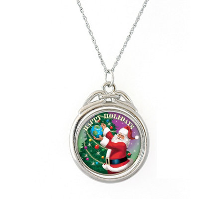 Happy Holidays Colorized JFK Half-Dollar Spinner Pendant
