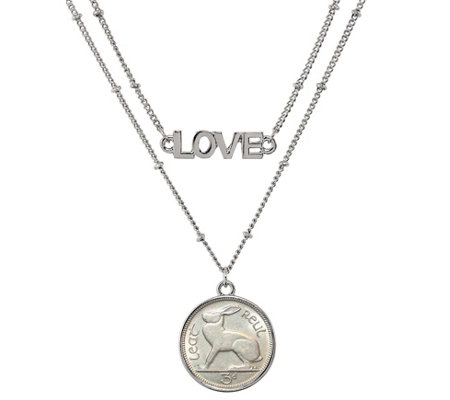 American Coin Treasures Irish Threepence Hare Love Necklace