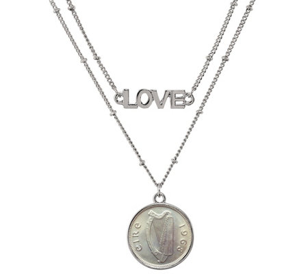 American Coin Treasures Irish Threepence Harp Love Necklace