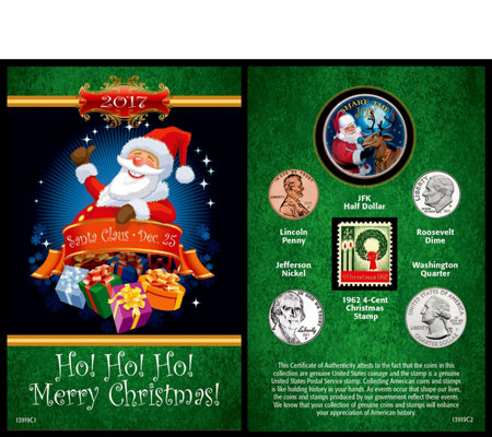 Santa Greeting Card w/ Coins & Stamp