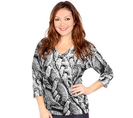ART & COLOUR Pullover, 3/4-Arm V-Ausschnitt Grobstrickdruck