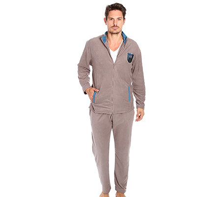 MEN'S TOUCH Mikrofaser Fleece Hausanzug, 1/1-Arm Kontrastfarbe Rundumdehnbund