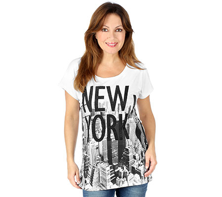 SIGAL STYLE Shirt, 1/2-Arm Rundhalsausschnitt New York-Druck Glitzerfolie