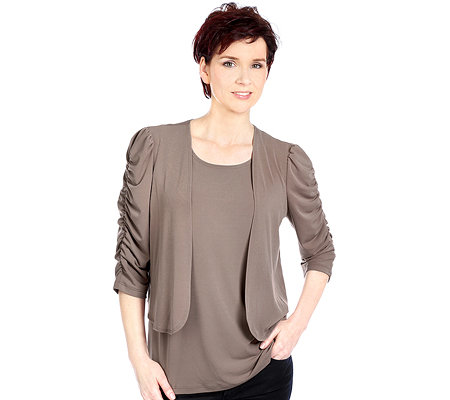 KIM & CO. Brazil-Knit-Jersey Twinset, uni Kurzcardigan und Top
