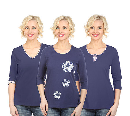 DENIM & CO. 3er Set Shirts 3/4-Arm Zierstickerei Blumen-Druck