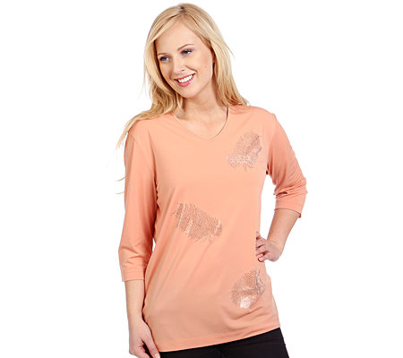 IN-SPOTS Shirt, 3/4 Arm V-Ausschnitt Federn- Applikation