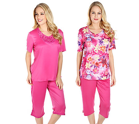 LITTLE ROSE MF Jersey Interlock Pyjama, 1/2 Arm DP Caprihose Druck & uni