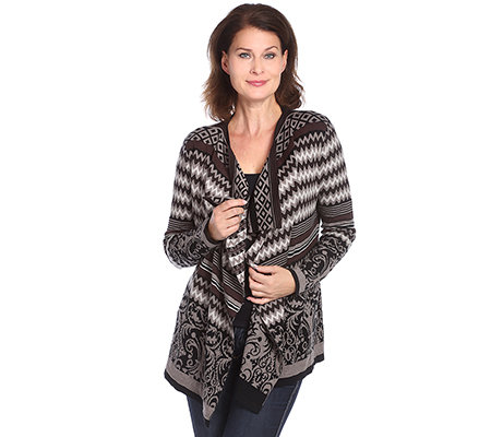 HEARTBEAT Jacquard-Cardigan 1/1-Arm offene Front Ornament-Optik
