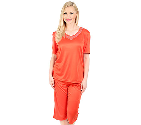 LITTLE ROSE MF Jersey Interlock Pyjama, 1/2-Arm V-Ausschnitt Strasssteine