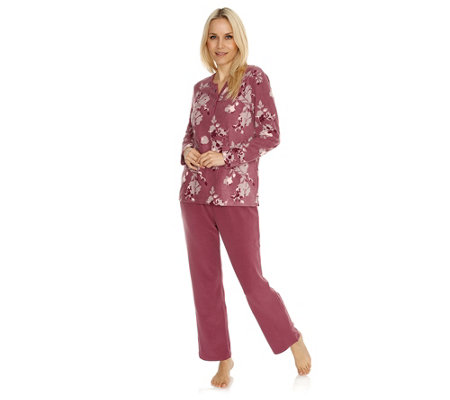 LITTLE ROSE MF, Fleece Pyjama, 1/1-Länge Zierknopfleiste Blumendruck