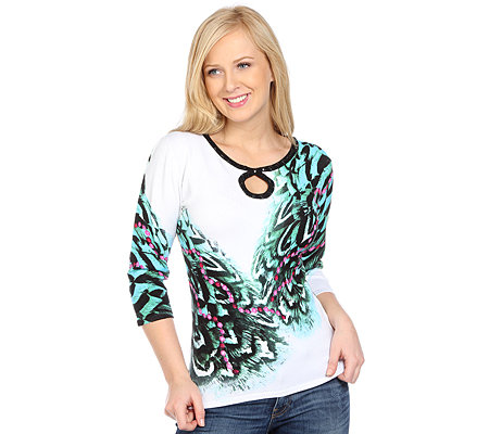 ART & COLOUR Pullover, 3/4-Arm Tropfenausschnitt Ketten-Animaldruck Perlenstickerei