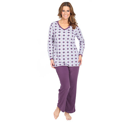 LITTLE ROSE MF Flanell Pyjama, 1/1-Arm Karo-Druck Spitzendetail