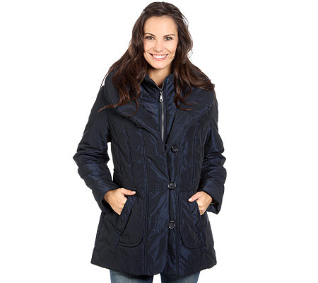 CENTIGRADE Damen-Steppjacke 2 in 1 Optik Schalkragen Knopfleiste