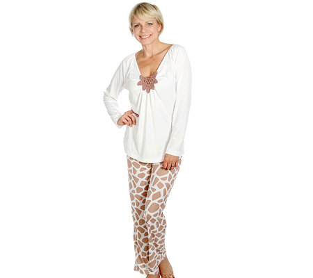 LITTLE ROSE Mikrofaser Pyjama, 1/1 Arm Stickerei Tierdruck