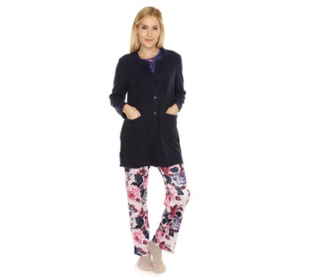 LITTLE ROSE Mikrofaser Pyjama, 1/1-Arm Cardigan in Flanell Fleece