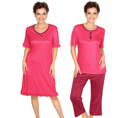 LITTLE ROSE MF Pyjama 1/2-Arm Nachthemd 3-tlg.
