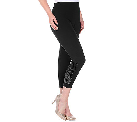 VIA MILANO Loungewear Viskosemischung Leggings, 7/8 Strassdetail