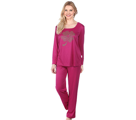 LITTLE ROSE MF Jersey Interlock Pyjama, 1/1-Arm Carrée-Ausschnitt Strasssteine
