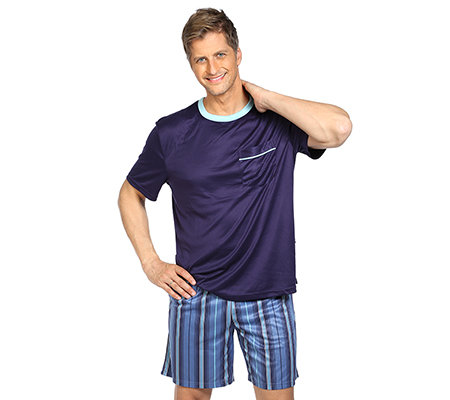 MEN'S TOUCH MF Jersey Interlock Shorty, 1/2-Arm Rundhalsausschnitt Streifendessin