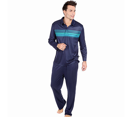 MEN'S TOUCH MF Jersey Interlock Pyjama, 1/1-Arm Polokragen Streifendruck