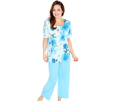LITTLE ROSE Mikrofaser Pyjama, 1/2-Arm 7/8-Hose Blumen-Druck