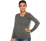 FRIEDA LOVES NYC Pullover Strick-Chiffonmix Logodruck Animaldruck