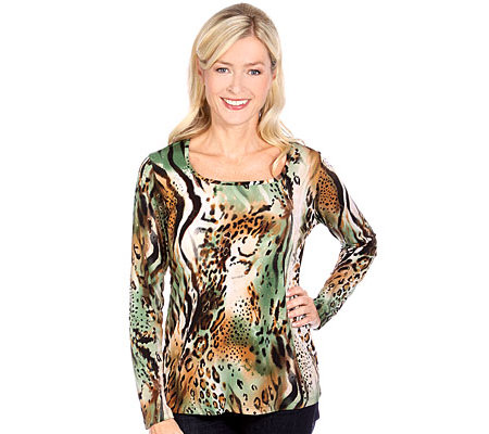 KIM & CO. Brazil-Knit-Jersey Shirt 1/1 Arm tiefer Rundhals Abstrakt/Animalprint