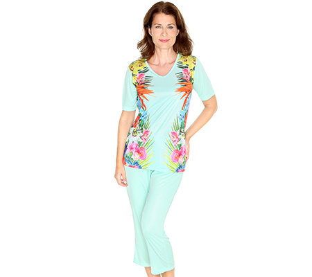 LITTLE ROSE MF Pyjama 1/2-Arm Blumen-Druck 7/8-Hose, uni