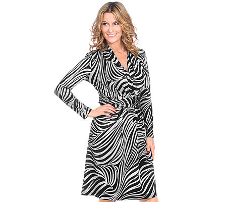 MUREK Kleid 1/1 Arm Schalkragen Bindegürtel Animal-Druck