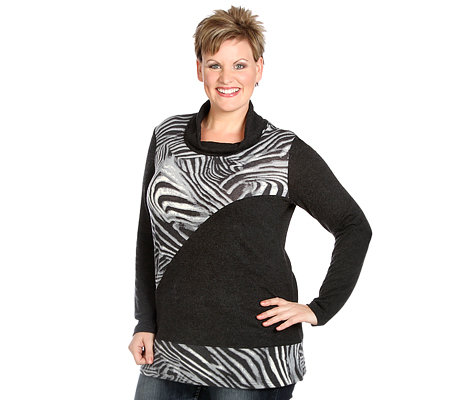 VIA MILANO PLUS Pullover, 1/1 Arm Stichelhaar weiter Rollkragen Animal-Druck
