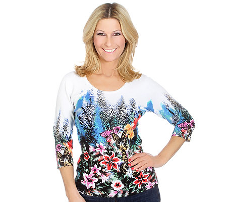 ART & COLOUR Pullover, 3/4-Arm Rundausschnitt Sommerdruck